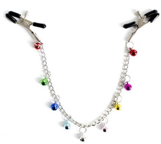 Nipple Clamp Chain With Jingle Bells sada kovových svorek