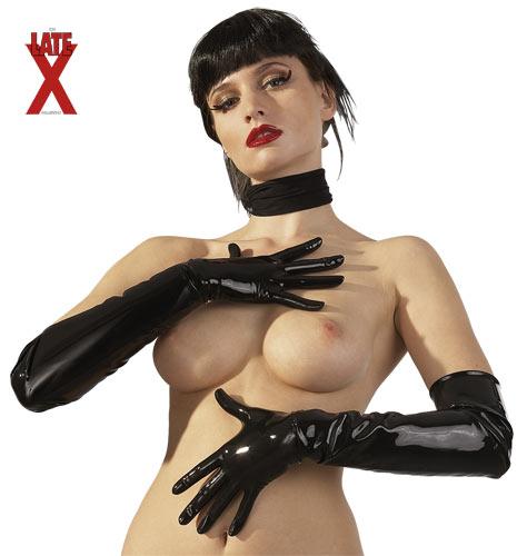 Short Latex Gloves black L