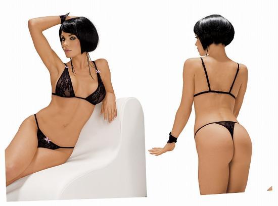 Černá krajková podprsenka s tangy, vel.XL