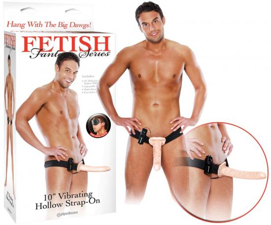 "Fetish Fantasy 10"" Vibrating Hollow Strap-On"