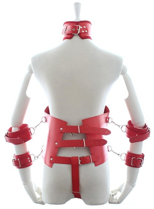 Faux Leather Corset With Arm Cuffs Red