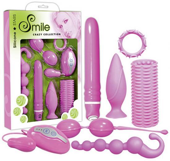 7 dílná růžová sada ze silikonu Smile Crazy Collection