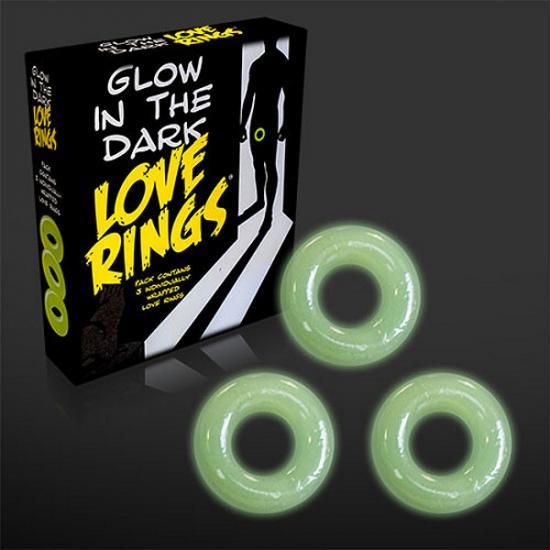 Glow in the dark Love Rings 3-pack