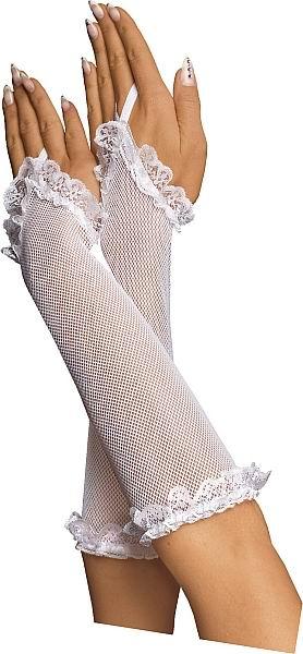 Bílé rukavičky s krajkou
