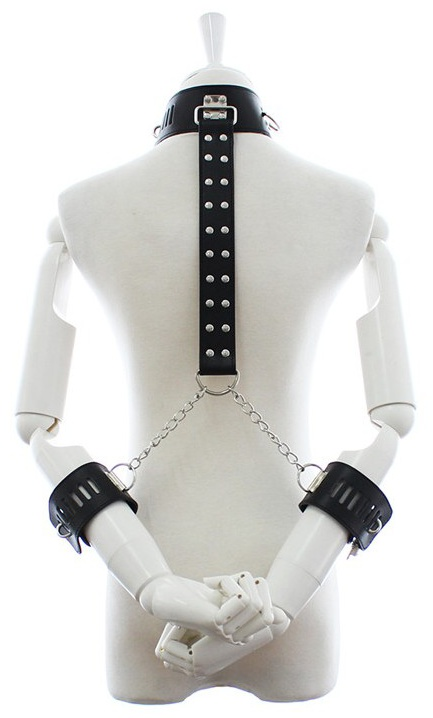 Faux Leather Collar With Wrist Restraint