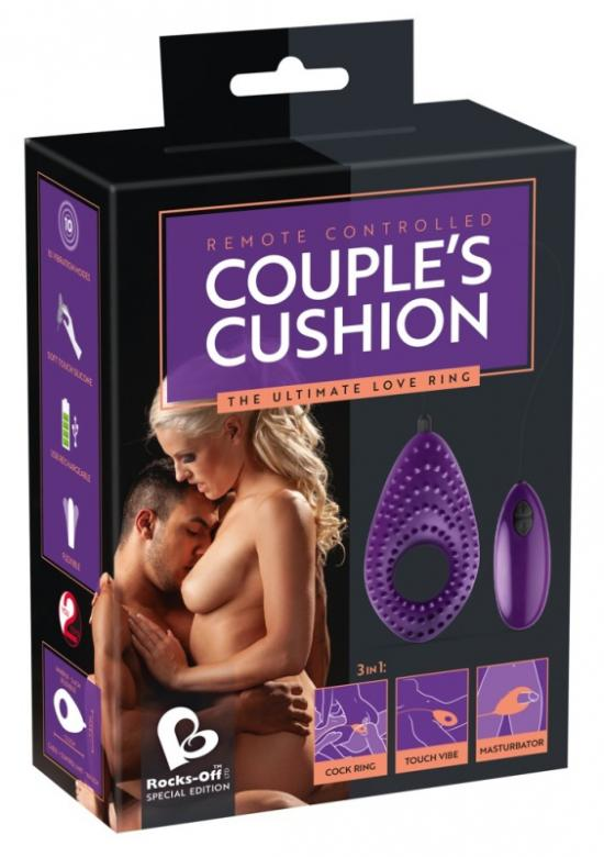 Párový vibrátor, masturbátor a erekční kroužek 3v1 fialový