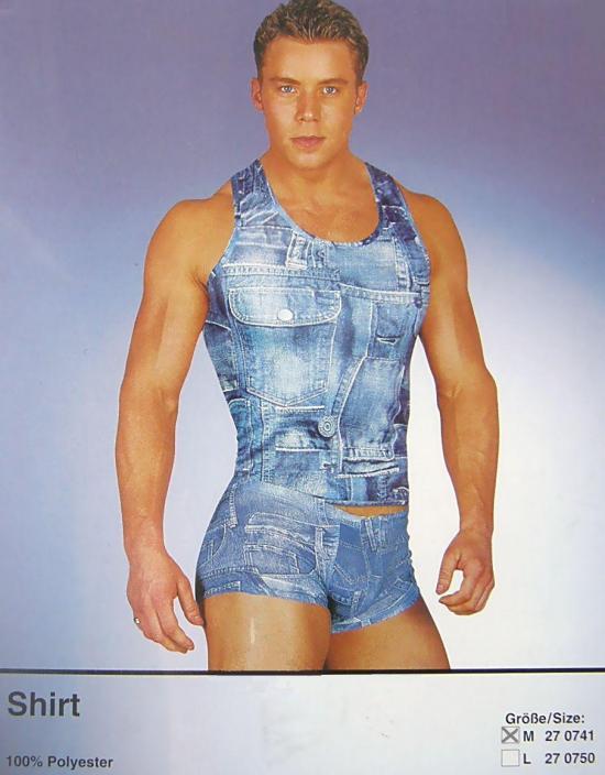 Textilní tričko s riflovým potiskem,M
