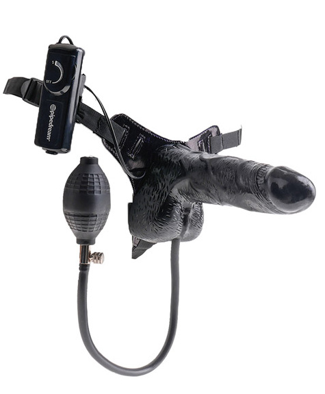 "Inflatable Vibrating Strap-On 6"" Flesh"