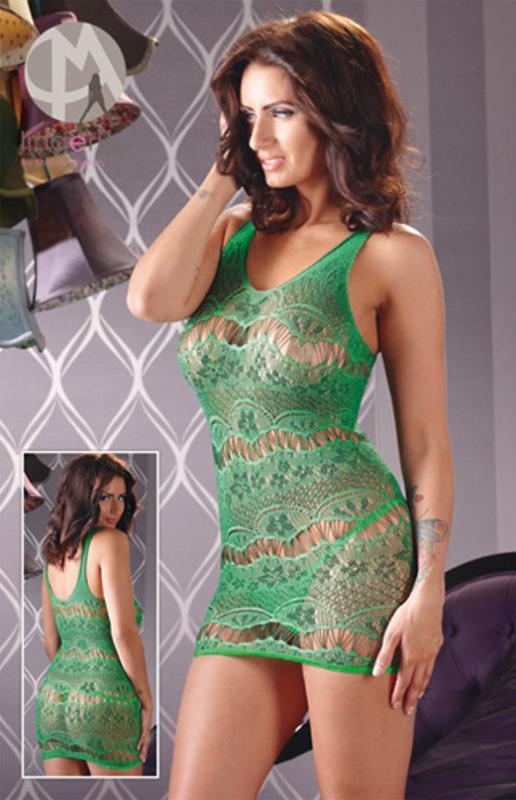 Net Dress Green, vel.S-L - bezešvé síĽované šaty