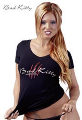 Černé bavlněné triko Bad Kitty, vel. S
