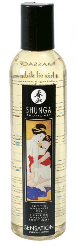 Erotický masážní olej Shunga Sensation s vůní levandule 250 ml