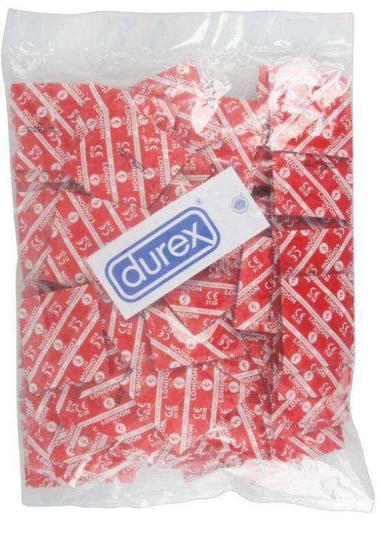 50ks Durex London rot s jahodovou příchutí