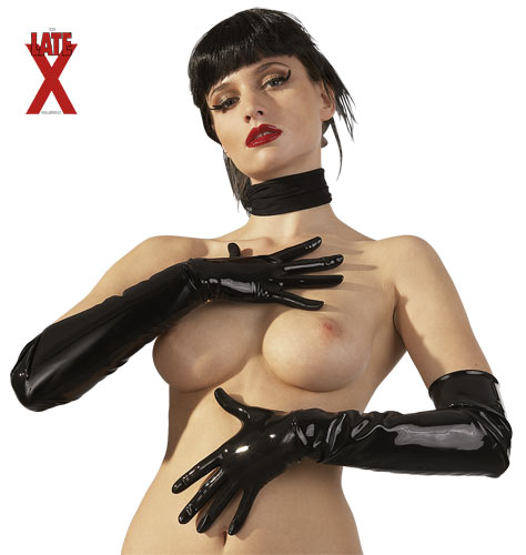 Short Latex Gloves black L