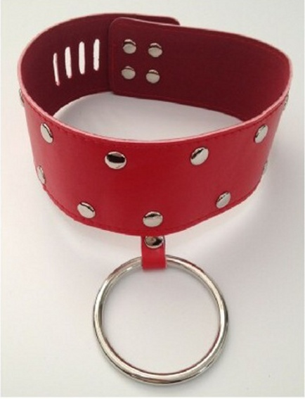Leather Collar with Ring Padlock Key