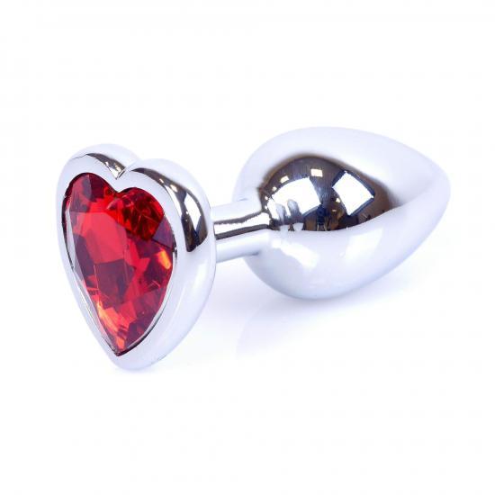 Plug Jewellery Silver Heart Red