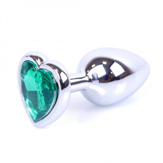 Plug Jewellery Silver Heart Green