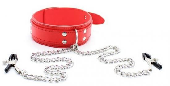 Leather Collar With Nipple Clamps Red