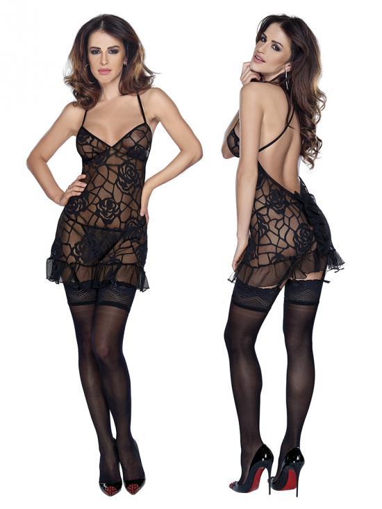 Mini dress string Black vel. S - mini šaty