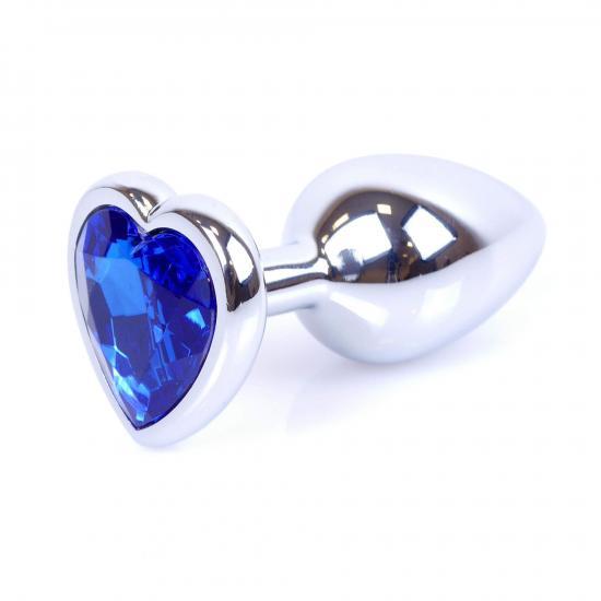 Plug Jewellery Silver Heart Dark Blue