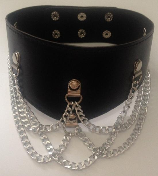 Faux Leather Collar With 5 Chains