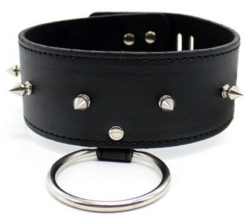 Leather Collar with ring, rivets decorat
