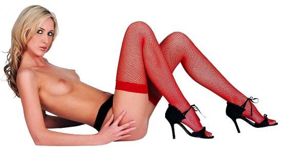 Rudé sítěné samodržící punčochy