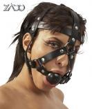 Kožená nastavitelná maska na hlavu s roubíkem