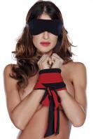 Eye mask, cuffs red, jednotná vel.