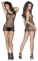 Fishnet mini dress black vel. S-M minišaty