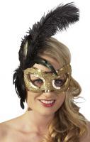 Oční stříbrná maska s černým peřím