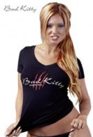 Černé bavlněné triko Bad Kitty,vel.M