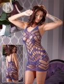 Net Dress Purple, vel.S-L - bezešvé síĽované šaty