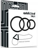 Addicted Toys Rings Set For Penis Black