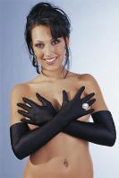 Černé saténové rukavice